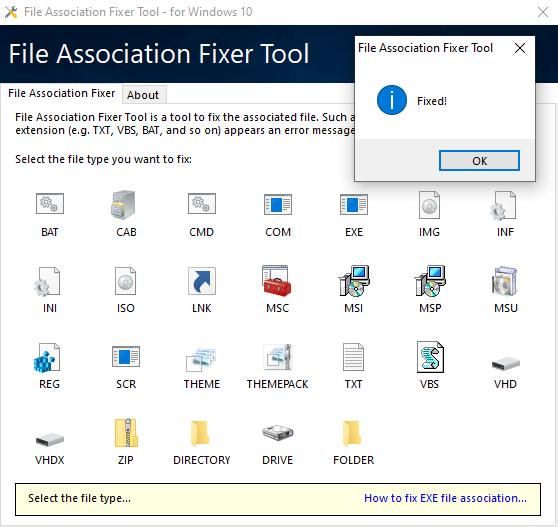 Restaurer les associations de fichiers sur Windows 10 avec File Association Fixer Tool