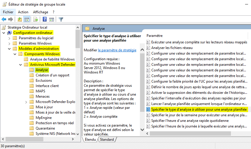 Spécifier le type d'analyse planifiée de Microsoft Defender dans gpedit
