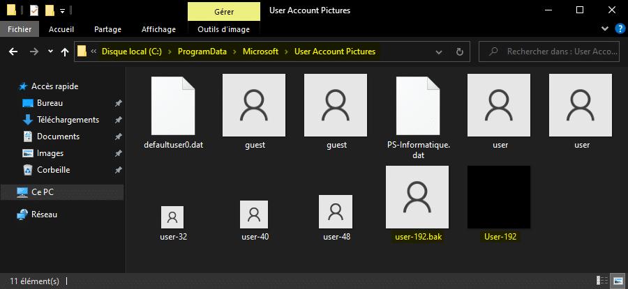 Supprimer image compte utilisateur sur écran de connexion