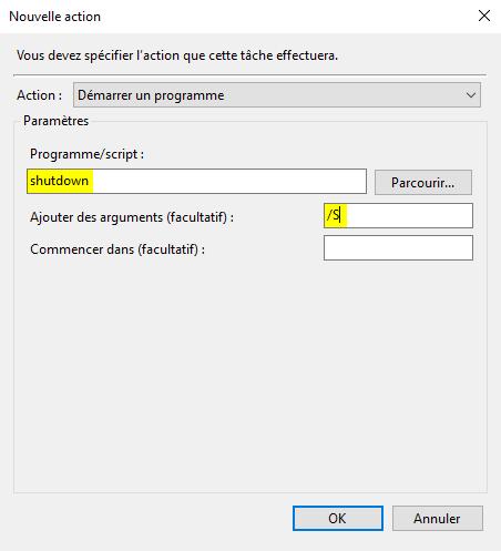 Tâche planifiée shutdown ordinateur automatiquement