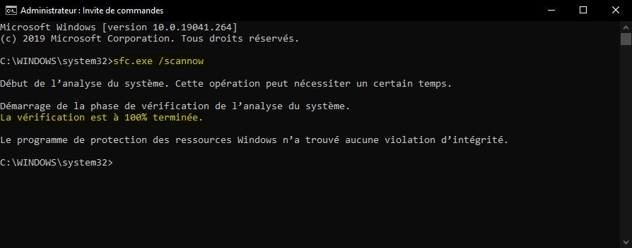 Vérifier et réparer les fichiers système corrompus avec une Invite de commandes