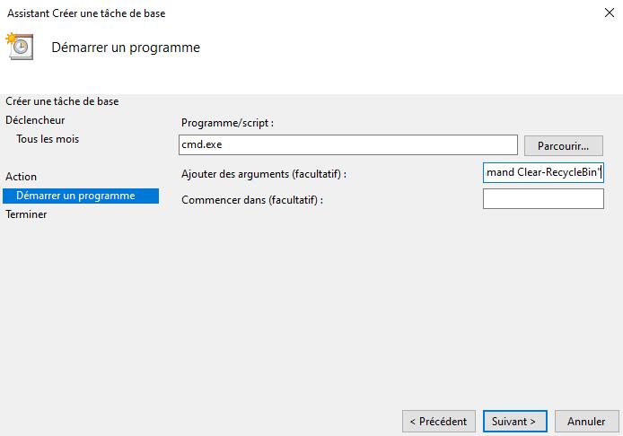 Vider automatiquement la corbeille Windows avec une tâche planifiée