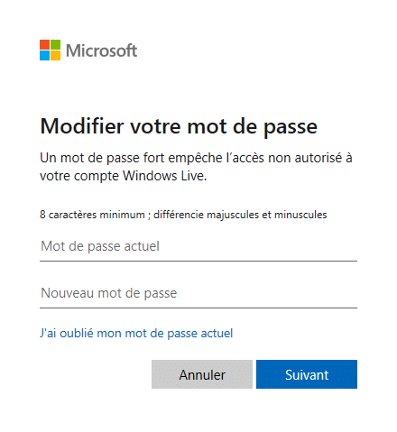 Changer le mot de passe de Windows 10 avec un compte Microsoft via les paramètres Windows