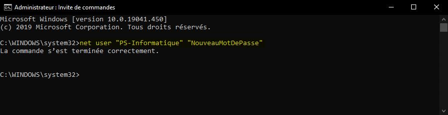 Changer le mot de passe de Windows 10 avec une invite de commandes