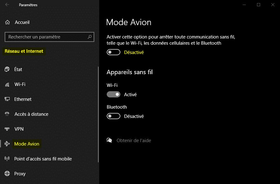 Désactiver le mode avion depuis les Paramètres Windows