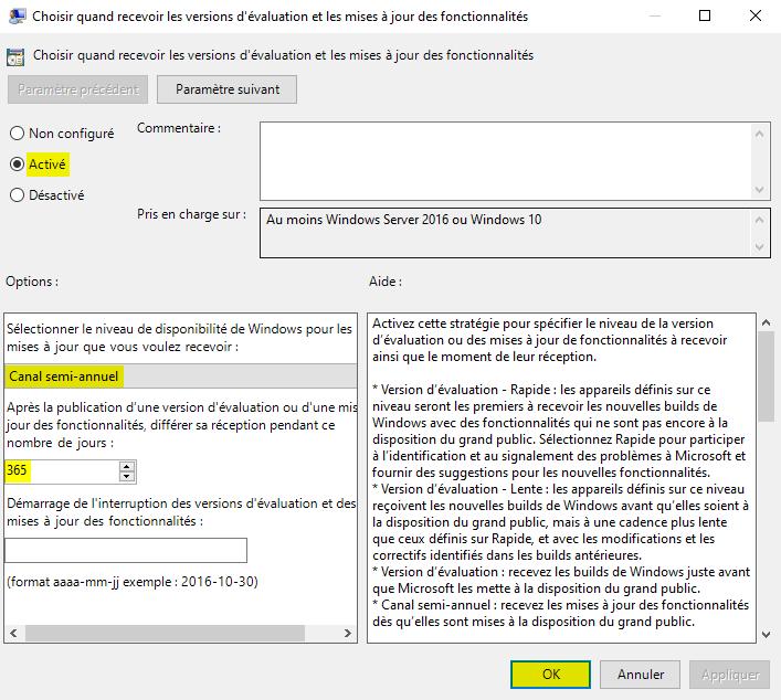 Différer les mises à jour de fonctionnalités de Windows 10 avec l'Éditeur de stratégie de groupe locale