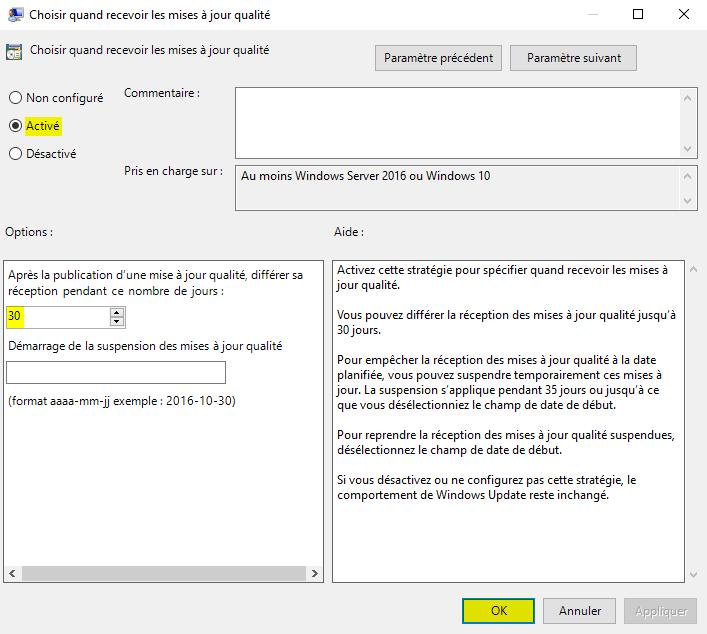 Différer les mises à jour de qualité de Windows 10 avec l'Éditeur de stratégie de groupe locale