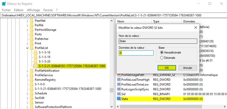 Données de la valeur State de la clé ProfileList dans l'Éditeur du Registre