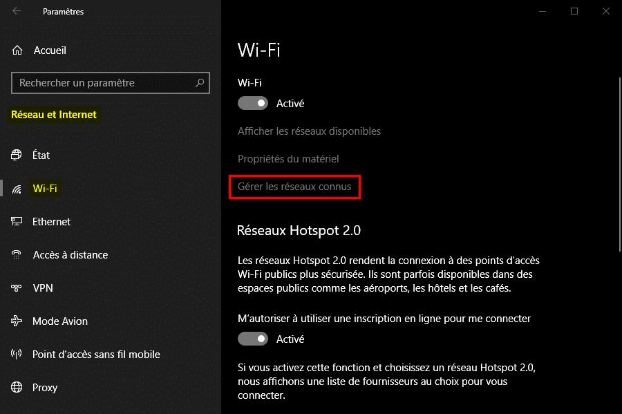 Gérer les réseaux Wi-Fi connus dans les Paramètres Windows