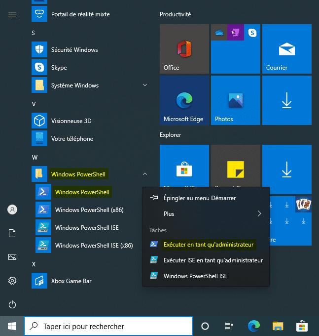 Lancer PowerShell sur Windows 10 avec le menu Démarrer