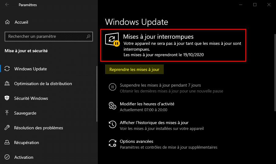 Mises à jour interrompues via Windows Update sur Windows 10