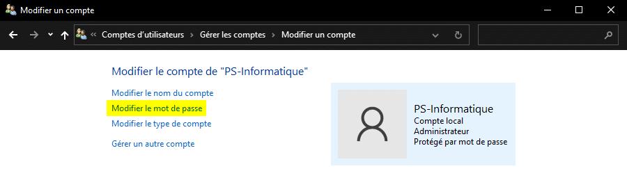 Modifier le mot de passe d'un compte utilisateur Windows