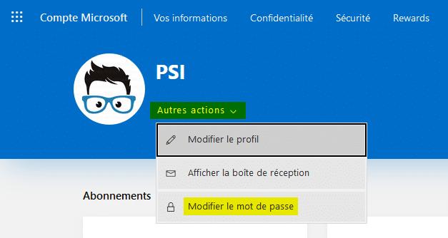 Modifier le mot de passe du compte Microsoft