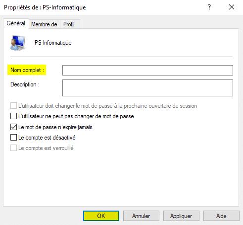 Modifier le nom d'utilisateur dans Windows 10 via les utilisateurs et groupes locaux