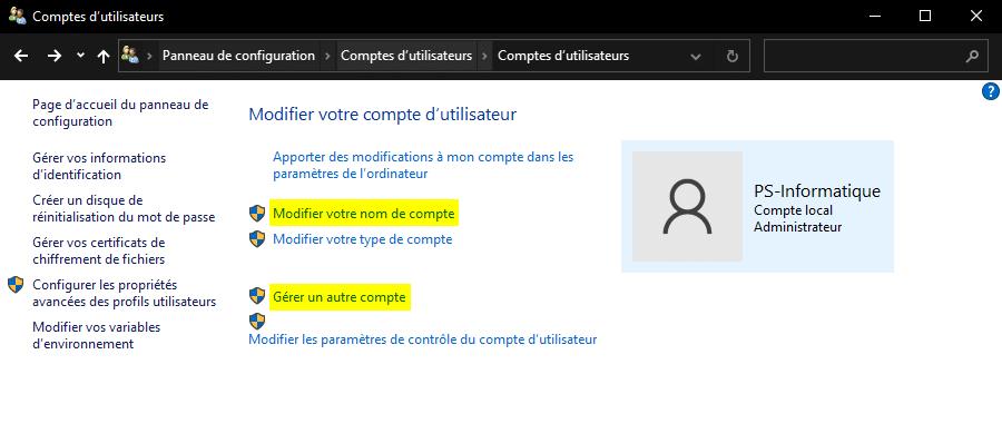 Modifier votre compte d'utilisateur Windows