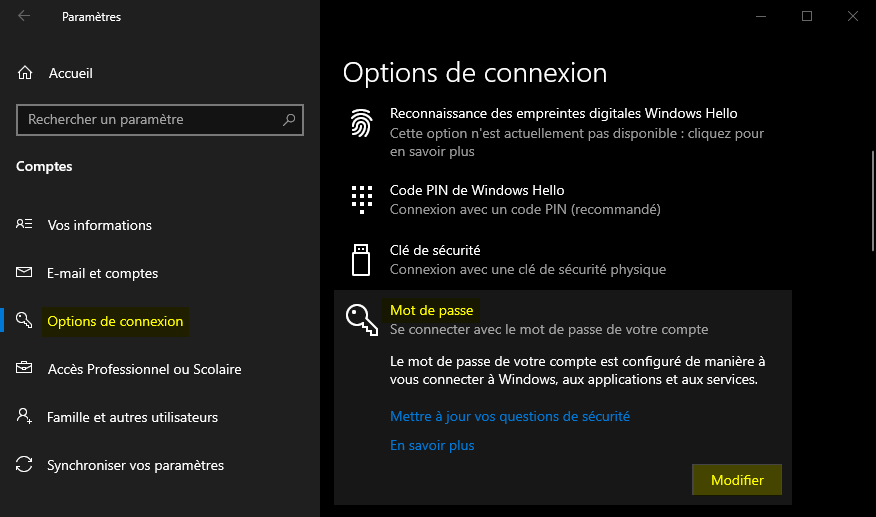 Option Mot de passe dans les Paramètres Windows