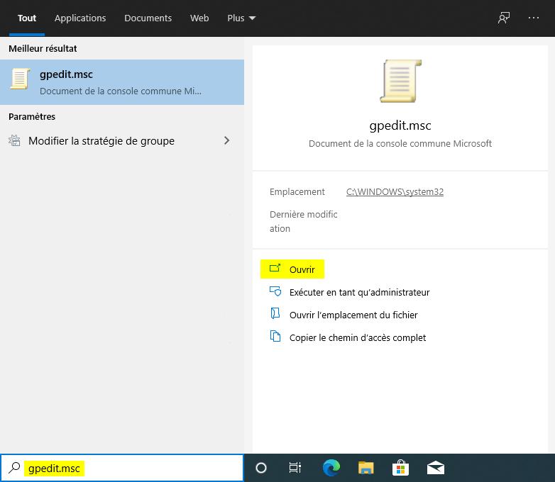 Ouvrir l'Éditeur de stratégie de groupe locale sur Windows 10
