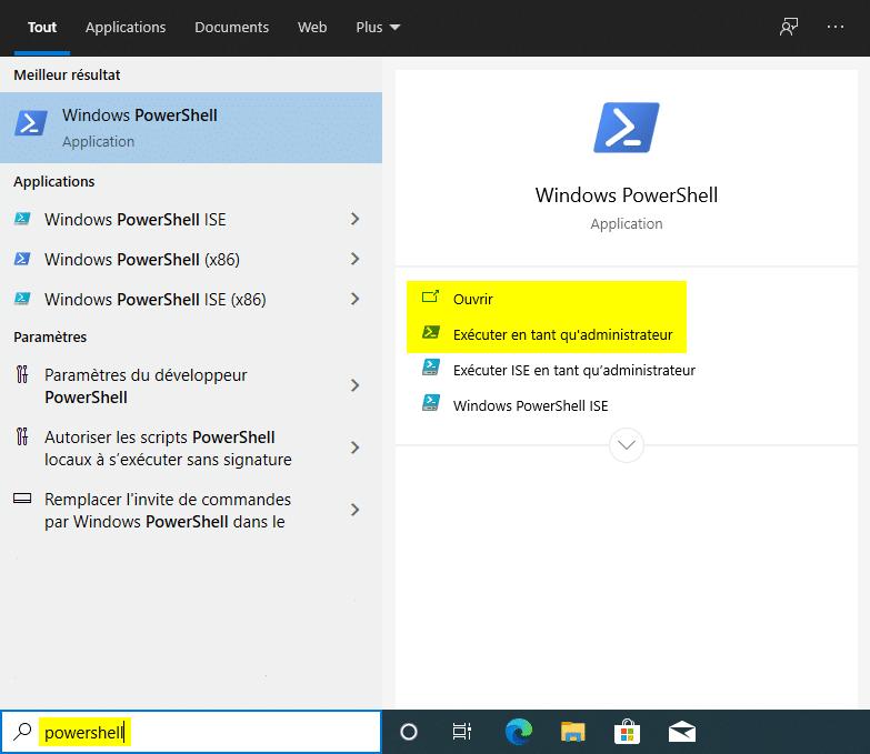 Ouvrir PowerShell sur Windows 10 avec la barre de recherche