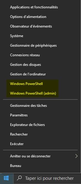 Ouvrir PowerShell sur Windows 10 via le menu Lien rapide