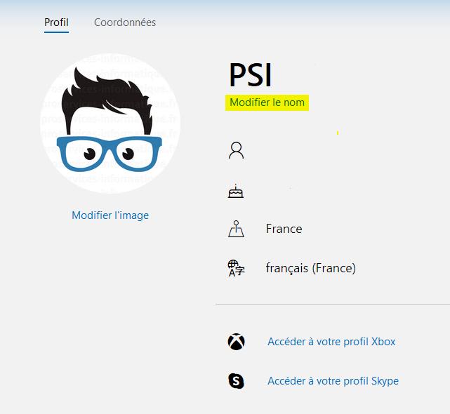 Profil utilisateur compte Microsoft