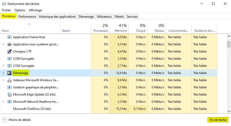 Redémarrer le menu Démarrer de Windows depuis le Gestionnaire des tâches