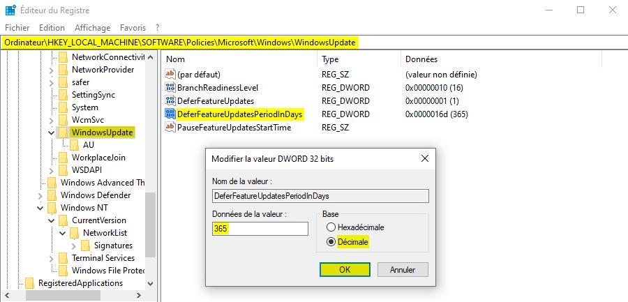 Reporter les mises à jour de fonctionnalités de Windows 10 avec l'Éditeur du Registre