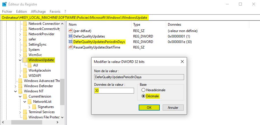 Reporter les mises à jour de qualité de Windows 10 avec l'Éditeur du Registre