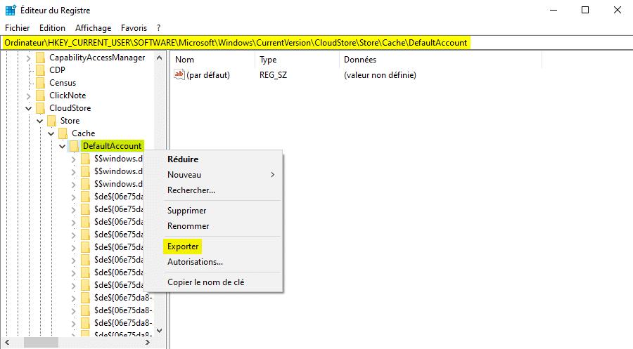 Sauvegarder le menu Démarrer de Windows 10 avec l'Éditeur du Registre