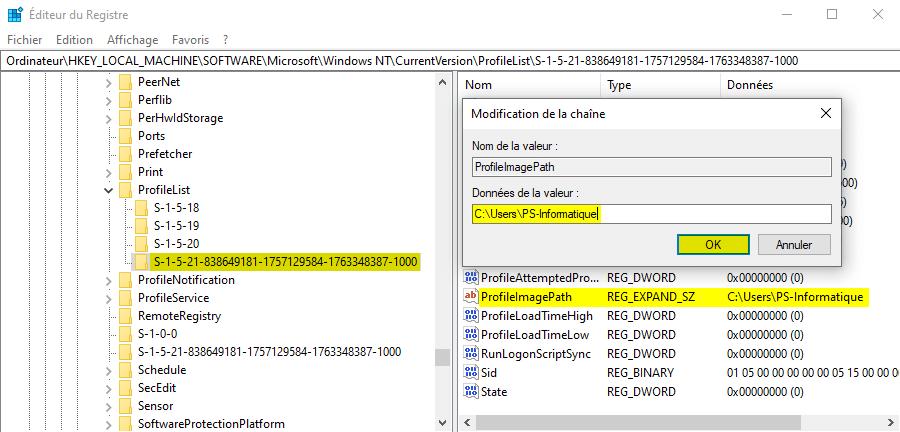 Supprimer le profil temporaire sous Windows 10 avec l'Éditeur du Registre