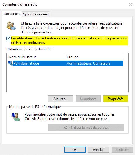Utilisateurs de cet ordinateur dans netplwiz
