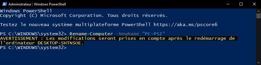 Changer le nom d'un ordinateur sous Windows 10 avec PowerShell