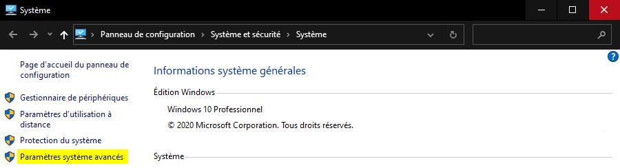 Ouvrir Paramètres système avancés Windows