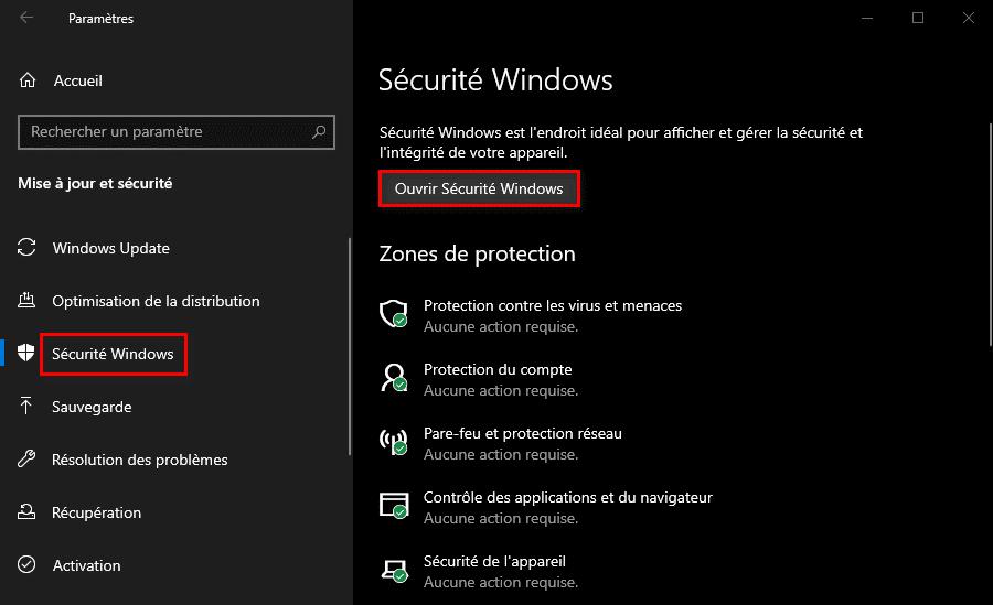 Ouvrir la Sécurité Windows
