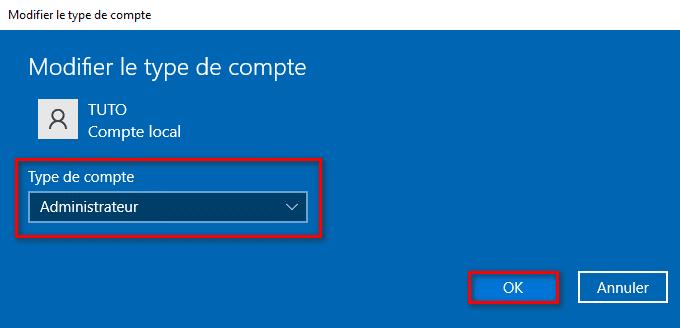 Passer un compte utilisateur local en administrateur dans les Paramètres de Windows 10