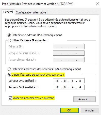 Problème WiFi connecté mais pas d'accès à internet changer les serveurs DNS sous Windows 10