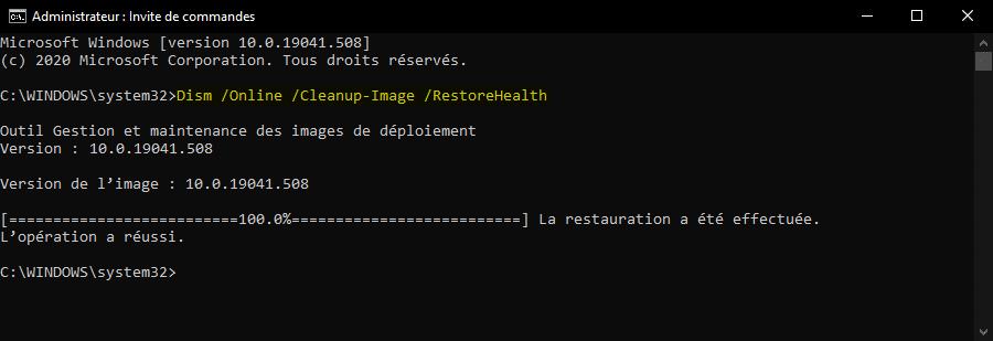 Réparer une image Windows 10 avec DISM