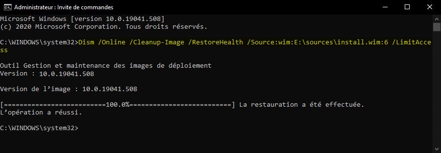 Résoudre erreur 0x800f081 pour réparer une image Windows 10 avec DISM