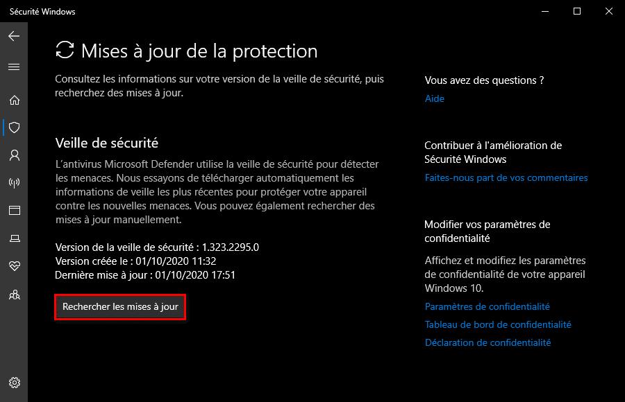 Résoudre le problème de mise à jour Microsoft Defender dans la veille de sécurité