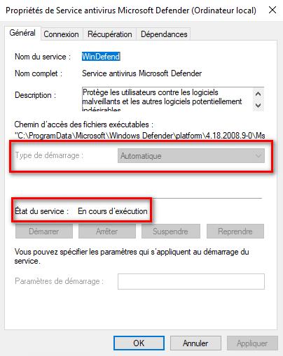 Vérifiez l'état du service pour résoudre le problème de mise à jour de Microsoft Defender