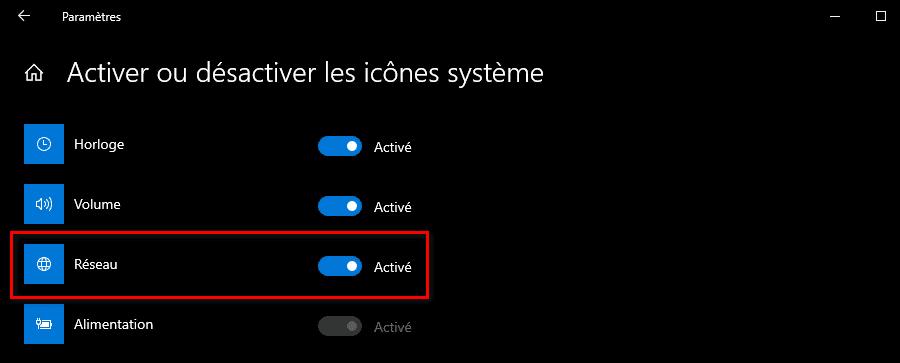 Activer l'icône réseau dans les paramètres des icônes système Windows
