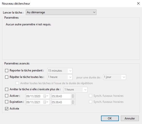 Déclencheur de la tâche planifiée de la sauvegarde du registre Windows