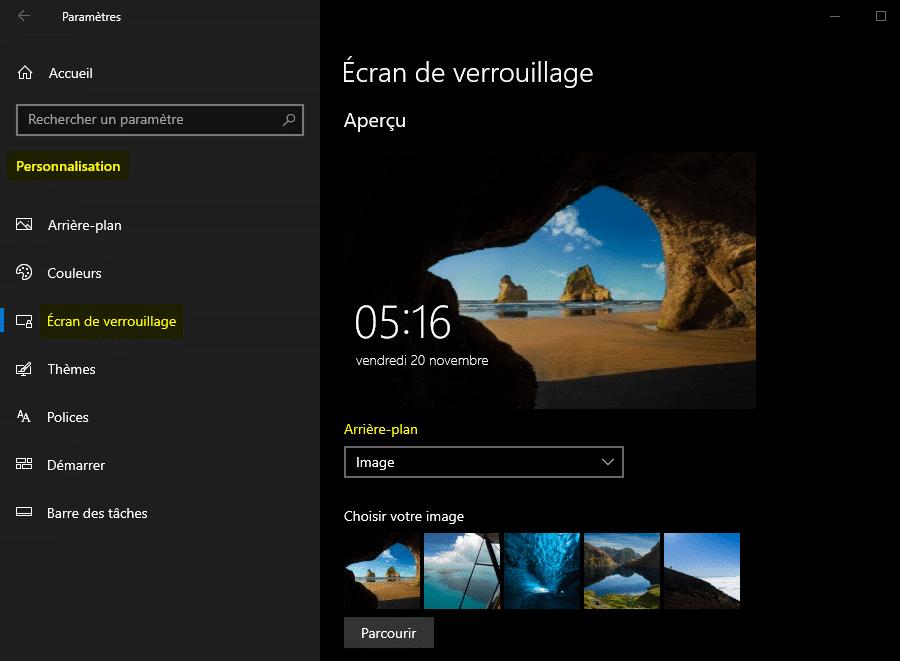 Désactiver Windows Spotlight