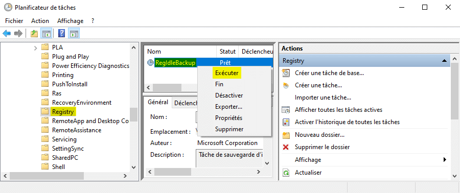 Exécuter la tâche RegIdleBackup manuellement