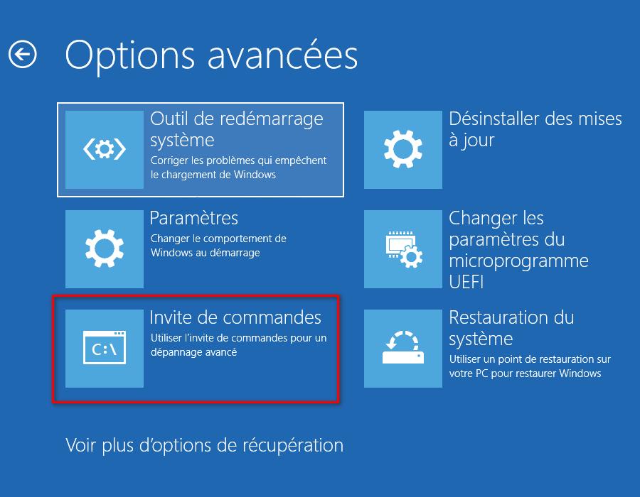 Ouvrir une invite de commandes dans les options de récupération Windows