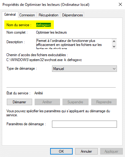 Récupérer le nom du service Windows
