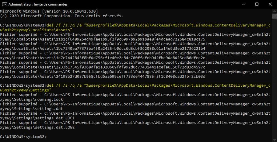 Réinitialiser les paramètres de Windows Spotlight