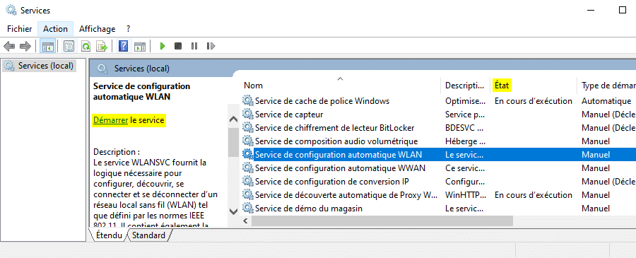 Réparer les connexions WiFi ne s'affichent pas avec le gestionnaire de services