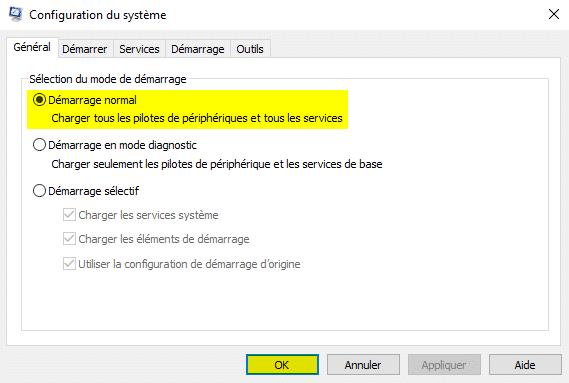 Résoudre le problème de l'icône WiFi disparue dans Windows 10 avec msconfig