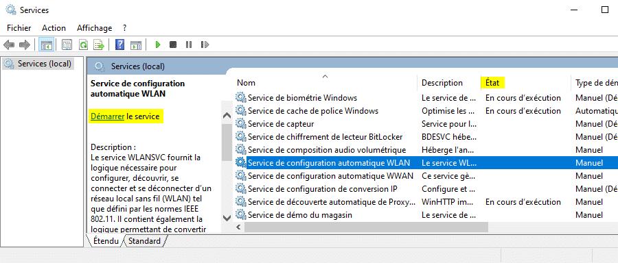 Résoudre le problème de l'icône WiFi disparue dans Windows 10 avec le gestionnaire de services