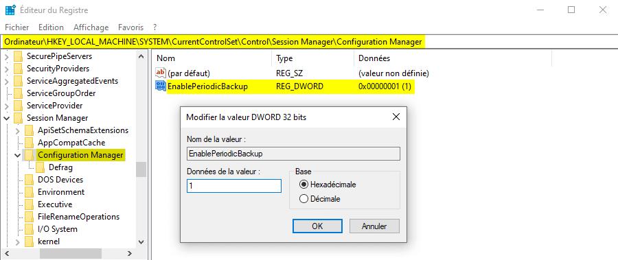Sauvegarder le registre Windows automatiquement